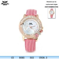 新款时尚手表可爱透明水晶贵宾狗真皮女表潮女必备支持厂家批发1