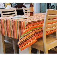 外贸单 欧美范餐厅彩虹条纹 全棉布桌布(大号100 145cm)