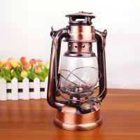 24.5厘米铁艺复古煤油灯 古铜色(电镀)怀旧马灯 户外露营手提灯