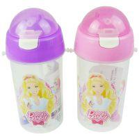 正品迪士尼芭比水壶 儿童卡通水壶 塑料吸管水壶500ml BL8552