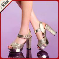 时尚粗跟鱼嘴女鞋2014欧美品牌同款韩版来自星星的你品牌凉鞋