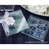 厂家供应创意礼物婚庆结婚用品浪漫雪花玻璃杯垫婚礼回礼礼物混批