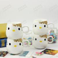 【厂家直销】景德镇卡通杯子,KT豹纹,广告礼品杯,陶瓷餐具,杯