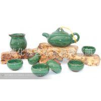 厂家 德化冰裂陶瓷 孔雀绿台湾8头冰裂釉茶具套装 艺窑 茶具批发