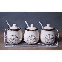 地中海风格 时光记忆 陶瓷调味罐 餐厅厨房必备四件套 厨房用品