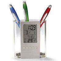 创意时尚笔筒 大屏幕塑料 透明多功能电子万年历笔筒 AY-7203