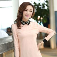 韩版新款秋冬女装雪纺拼接蕾丝加绒女衬衫长袖衬衣翻领打底衫潮款
