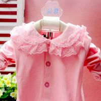 2014批发新款婴儿春秋纯棉蕾丝大花边翻领女童装宝宝衬衣韩版衬衫