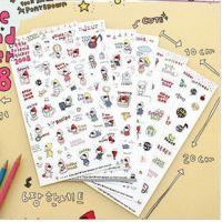 B072 日韩文具 可爱卡通小红帽贴纸 日记本笔记本装饰贴纸 6张入