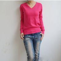 冬季新款套头毛衣女式V领羊绒衫短款正品羊毛衫女纯色打底衫