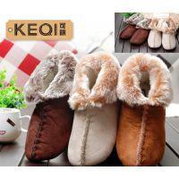 秋冬新款女士仿皮绒加厚月子拖鞋女款防滑保暖室内包跟加绒棉拖鞋
