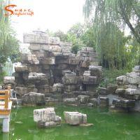 厂家定做设计假山石 创意玻璃钢假山 酒店大型石头装饰景观石
