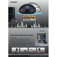 【新款】PS3游戏机USB声卡电脑USB声卡,双耳机双麦克风音量调节