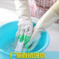 新款鲨鱼家务清洁防水橡胶手套 家用洗衣洗碗加厚耐用乳胶手套-M