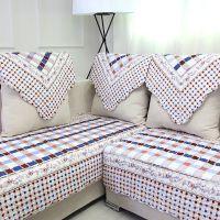 绗缝沙发垫蓝格子韩式田园布艺沙发罩时尚坐垫防滑地垫招淘宝代理