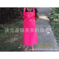 厂家直销韩版可爱公主家居时尚无袖防水皮围裙/背带式交叉式围裙