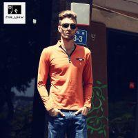 供应2014秋季新款韩版修身长袖T恤 男V领个性上衣潮 男士打底衫T恤 男