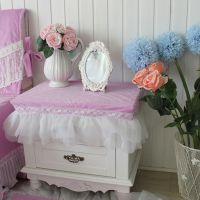 美丽梦想 紫色浪漫系列公主房床头柜罩 洁白蕾丝纱裙防尘罩 定做
