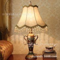 欧式卧室客厅书房床头调光复古树脂台灯酒店别墅专用大号