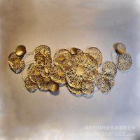 金属饰品摆件 金色荷叶电梯过道室内挂件 时尚抽象创意铁艺壁饰