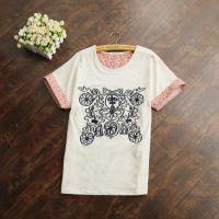 批发供应新品 日系民族风 图腾刺绣棉麻拼接宽松蝙蝠袖T恤 A34L54