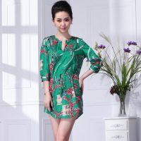 供应2014品牌夏装新款连衣裙 淑女碎花时尚仿真丝V领性感女装FN521