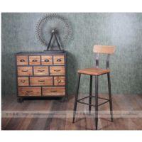 美式LOFT出口欧美工矿风铁木结合吧台凳餐厅背靠创意椅子 批发
