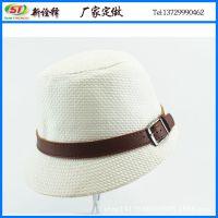 外贸出口定做 夏日遮阳草编马术帽 平顶短檐鸭舌帽 情侣盆帽