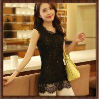 厂家直销2014夏季新品韩版修身 中长款蕾丝衫 蕾丝上衣 打底衫 女