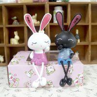 儿童节礼物创意布艺树脂摆件客厅家居饰品 可爱兔子娃娃