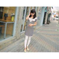 特价  2013夏季新款韩版孕妇装简单大方条纹蕾丝拼接孕妇裙 批发