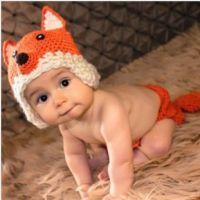 狐狸造型宝宝帽子儿童手工帽婴儿针织帽百日照摄影手工编织毛线帽