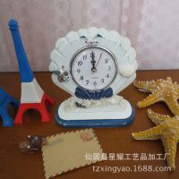 厂价直销 木质地中海风格家居装饰 贝壳座钟 3*3相框