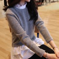 2014秋装新款羊毛打底衫女装假两件韩版荷叶边中长款修身针织衫