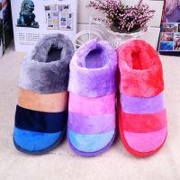 批发冬季保暖棉拖鞋  情侣家居家包跟厚底彩条防滑月子棉鞋