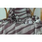 Striated Jacquard Bamboo Throw Blanket With 10% Cashmere + 90% Bamboo
