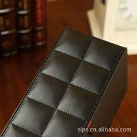 【施沛森】黑色牛皮纹 纸巾盒 可爱创意 欧式 餐巾纸盒汽车用皮