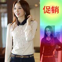 2015春季新款衬衫长袖韩版雪纺长袖衬衫蕾丝长袖打底衫