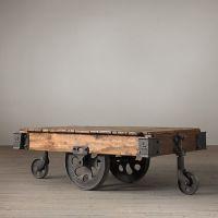 众诚美式乡村LOFT工业风茶几 复古铁艺板车创意茶几边几厂家直销