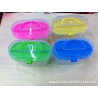 义乌厂家直销透明塑料双层针线盒,彩泥盒,橡皮泥盒等多用途整理