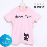 一件代发 韩版童装 夏季儿童全棉打底衫 短袖T恤happy猫Z0.4