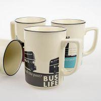 杯子批发 创意复古剪影马克杯咖啡杯陶瓷水杯茶杯仿搪瓷办公杯