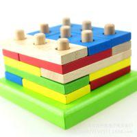 婴幼儿几何积木早教益智力木制拆装形状认知配对玩具 实体店批发