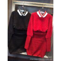 2014欧美女式高领纯貂绒针织毛衣衫中长款修身连衣裙秋冬一件代发
