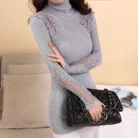 2014新款秋冬季女士韩版新款女高领打底衫蕾丝套头