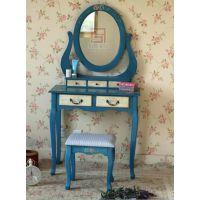 美式乡村蓝色仿古做旧纯手绘80cm实木梳妆台组合