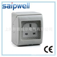 斯普威尔防水插座  3孔塑料明装防水插座 IP55墙壁防水插座