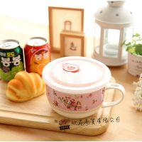 专业供应 玫瑰粉色带勺泡面碗密封碗