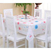 免洗防水餐桌布PVC台布圆桌塑料长方形台布防水防油茶几布田园