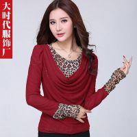 2014秋装新款豹纹拼接打底衫韩版女装长袖T恤镶钻打底T恤